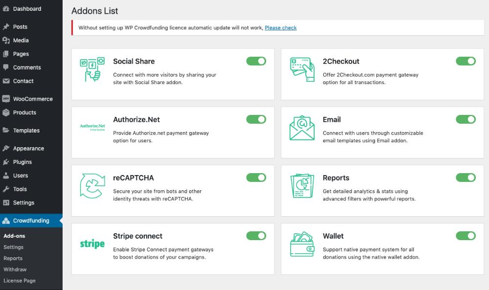 WP Crowdfunding Addons