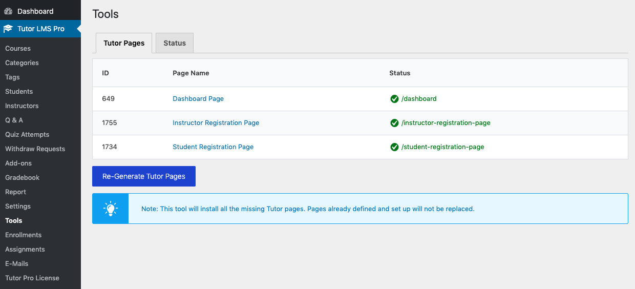 Tutor LMS troubleshooting tool to re-generate required pages